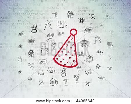 Holiday concept: Painted red Party Hat icon on Digital Data Paper background with  Hand Drawn Holiday Icons