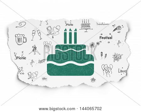 Holiday concept: Painted green Cake icon on Torn Paper background with  Hand Drawn Holiday Icons