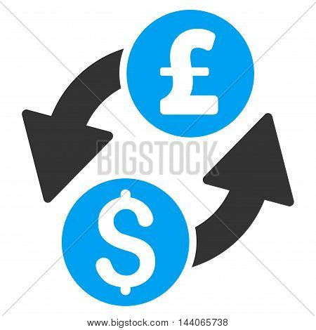 Dollar Pound Exchange icon. Vector style is bicolor flat iconic symbol with rounded angles, blue and gray colors, white background.