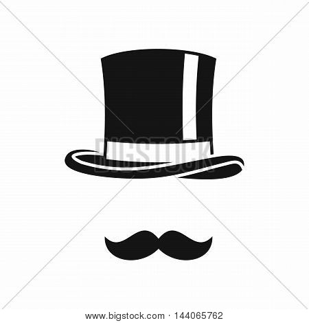 Cylinder and moustaches icon in simple style isolated on white background. Headgear symbol