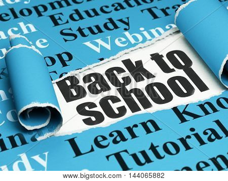 Learning concept: black text Back to School under the curled piece of Blue torn paper with  Tag Cloud, 3D rendering