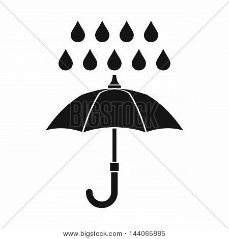 Umbrella and rain icon in simple style isolated on white background. Weather symbol