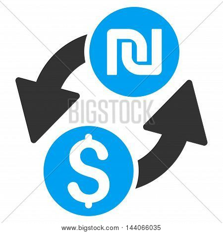 Dollar Shekel Exchange icon. Vector style is bicolor flat iconic symbol with rounded angles, blue and gray colors, white background.