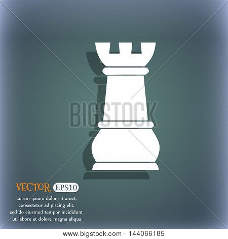 Chess Rook Icon. On The Blue-green Abstract Background With Shadow And Space For Your Text. Vector