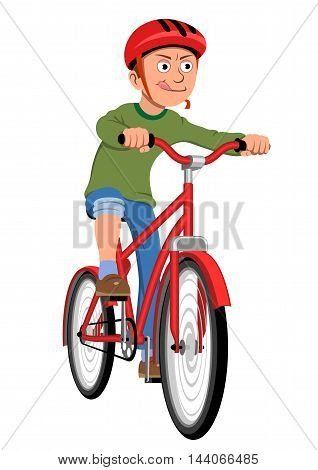 Boy riding bicycle - Vector illustration - EPS .