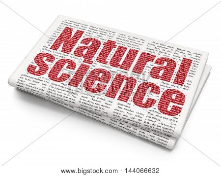 Science concept: Pixelated red text Natural Science on Newspaper background, 3D rendering