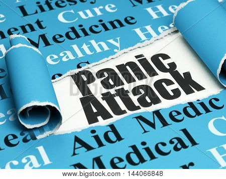 Health concept: black text Panic Attack under the curled piece of Blue torn paper with  Tag Cloud, 3D rendering