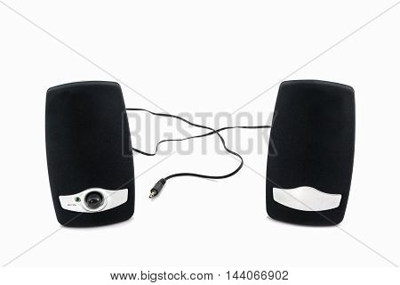 Small computer speakers on the white background.