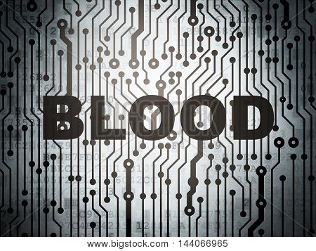 Healthcare concept: circuit board with  word Blood, 3D rendering