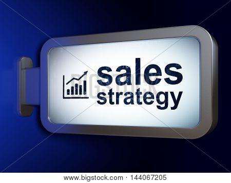 Advertising concept: Sales Strategy and Growth Graph on advertising billboard background, 3D rendering