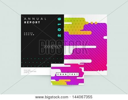 Abstract Background with Liquid Bubbles Shapes, Brochure Template Layout for Annual Report or Business Design. A4 Booklet. Circle Structures. Vector Illustration.