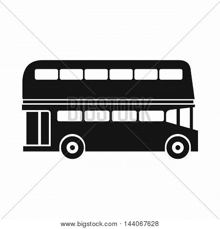 Double decker bus icon in simple style isolated on white background. Transport symbol