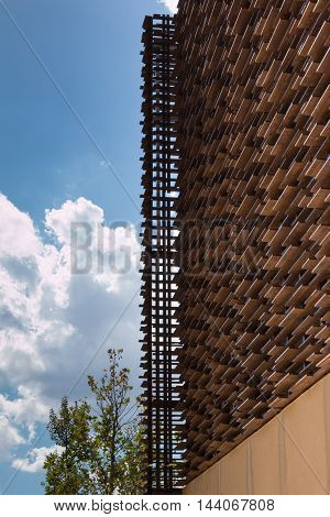 MILANO, ITALY - MAY 2015: Wooden Structure: Building with Modern Architectural Design at Universal Exposition in Milan Italy 2015