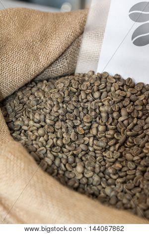 Close Up Of Green Coffee Beans In Burlap Sack