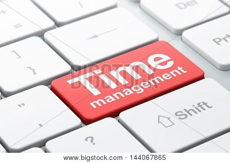 Timeline concept: computer keyboard with word Time Management, selected focus on enter button background, 3D rendering