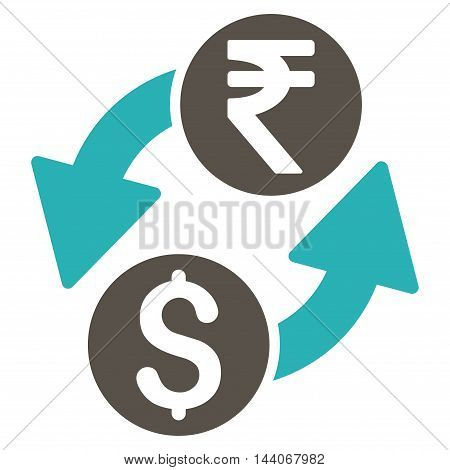 Dollar Rupee Exchange icon. Glyph style is bicolor flat iconic symbol with rounded angles, grey and cyan colors, white background.