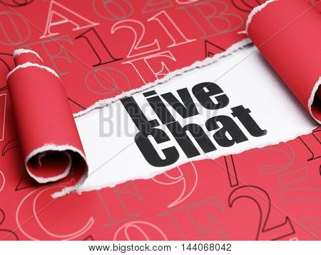 Web development concept: black text Live Chat under the curled piece of Red torn paper with  Hexadecimal Code, 3D rendering
