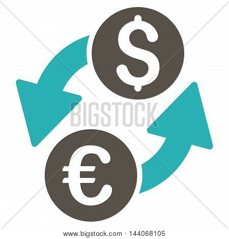 Euro Dollar Exchange icon. Glyph style is bicolor flat iconic symbol with rounded angles, grey and cyan colors, white background.