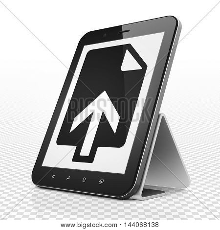 Web design concept: Tablet Computer with black Upload icon on display, 3D rendering