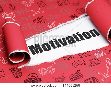 Business concept: black text Motivation under the curled piece of Red torn paper with  Hand Drawn Business Icons, 3D rendering
