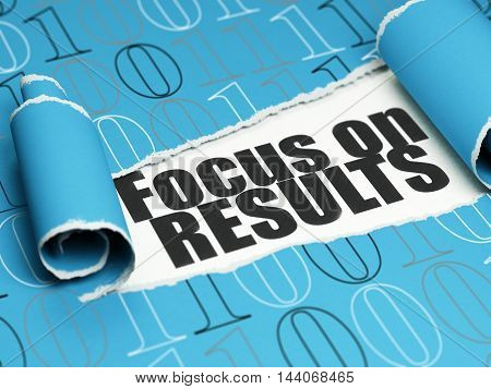 Business concept: black text Focus on RESULTS under the curled piece of Blue torn paper with  Binary Code, 3D rendering