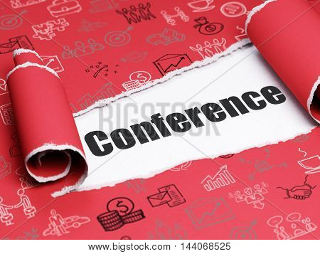 Finance concept: black text Conference under the curled piece of Red torn paper with  Hand Drawn Business Icons, 3D rendering