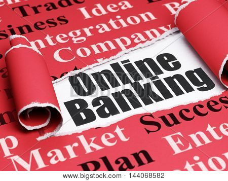 Finance concept: black text Online Banking under the curled piece of Red torn paper with  Tag Cloud, 3D rendering