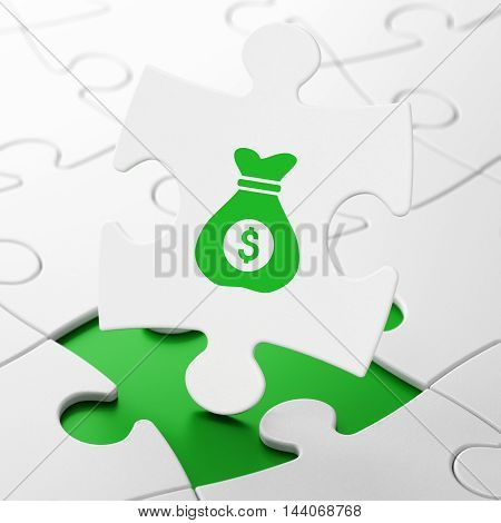 Business concept: Money Bag on White puzzle pieces background, 3D rendering