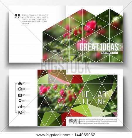 Set of annual report business templates for brochure, magazine, flyer or booklet. Colorful polygonal floral background, blurred image, red flowers on green, modern triangular texture.