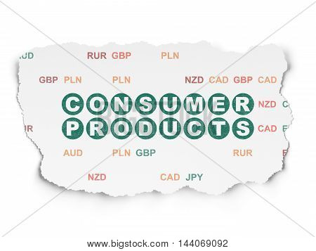 Business concept: Painted green text Consumer Products on Torn Paper background with  Currency