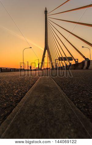 Rama 8 Bridge at sunrise in bangkok Thailand