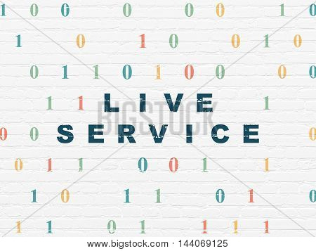 Business concept: Painted blue text Live Service on White Brick wall background with Binary Code