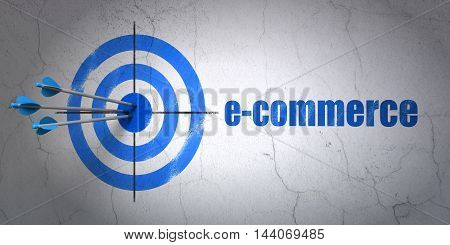 Success finance concept: arrows hitting the center of target, Blue E-commerce on wall background, 3D rendering