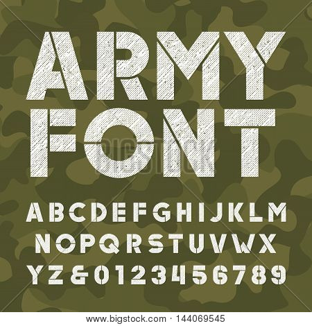 Army alphabet font. Scratched bold type letters and numbers on camo background. Vector typography for your design.