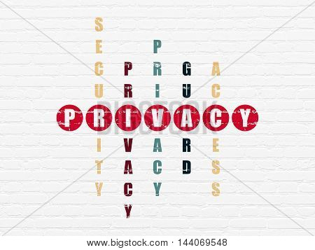 Privacy concept: Painted red word Privacy in solving Crossword Puzzle