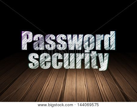 Protection concept: Glowing text Password Security in grunge dark room with Wooden Floor, black background