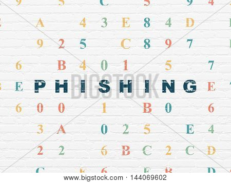 Privacy concept: Painted blue text Phishing on White Brick wall background with Hexadecimal Code