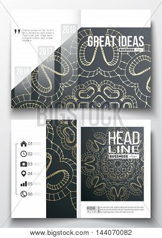 Set of business templates for brochure, magazine, flyer, booklet or annual report. Polygonal backdrop with golden connecting dots and lines, connection structure. Digital scientific background.