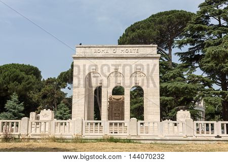 the Mausoleo Ossario Garibaldino on the Janiculum Hill in Rome dedicated to the fallen for Rome between 1849 (II Roman Republic) and 1870