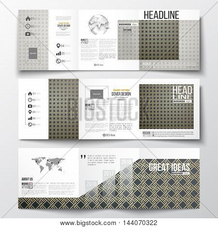Set of tri-fold brochures, square design templates with element of world map and globe. Islamic gold pattern with overlapping geometric square shapes forming abstract ornament. Vector golden texture.