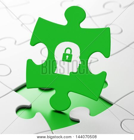 Data concept: Head With Padlock on Green puzzle pieces background, 3D rendering