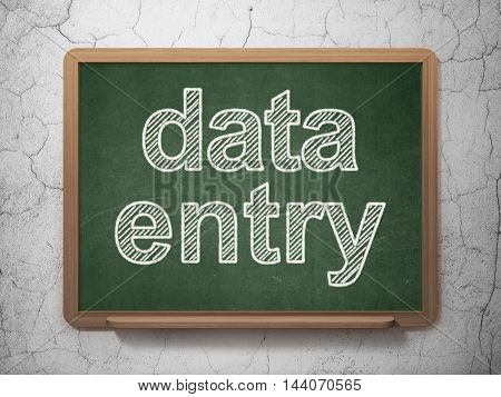 Information concept: text Data Entry on Green chalkboard on grunge wall background, 3D rendering