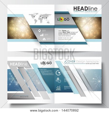 Business templates for square design brochure, magazine, flyer, booklet or annual report. Leaflet cover, abstract flat layout, easy editable blank. Christmas decoration, vector background with shiny snowflakes and stars.