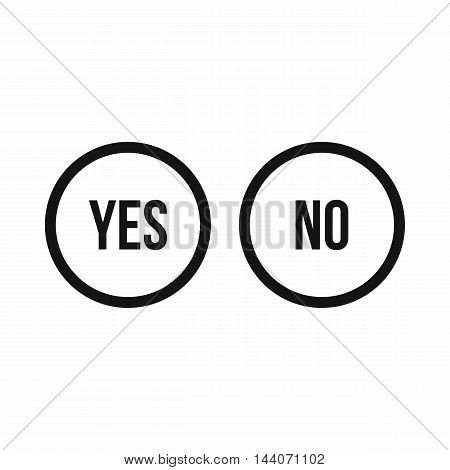 Selection buttons yes and no icon in simple style isolated on white background. Click and choice symbol