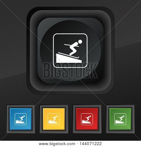 Skier Icon Symbol. Set Of Five Colorful, Stylish Buttons On Black Texture For Your Design. Vector