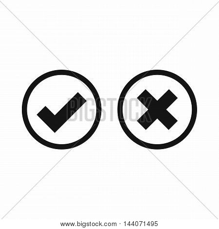 Tick and cross selection icon in simple style isolated on white background. Click and choice symbol