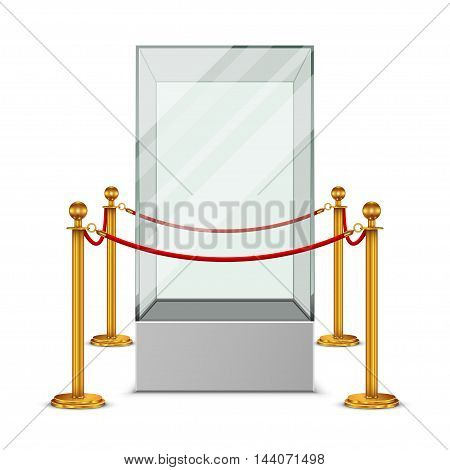 Empty glass showcase for exhibition with gold fence and red rope
