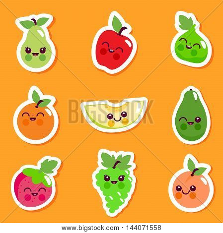 Vector illustration sticker set of cute cartoon fruit characters.