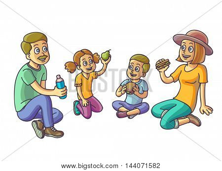 Happy family sitting and eating. Parents with two children on picnic. Vector Illustration.