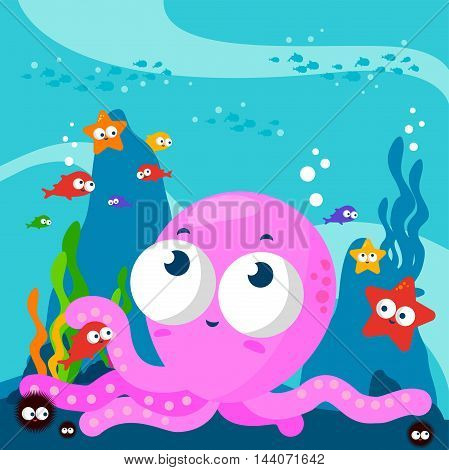 Vector Illustration of a cute octopus playing with the fish underwater.